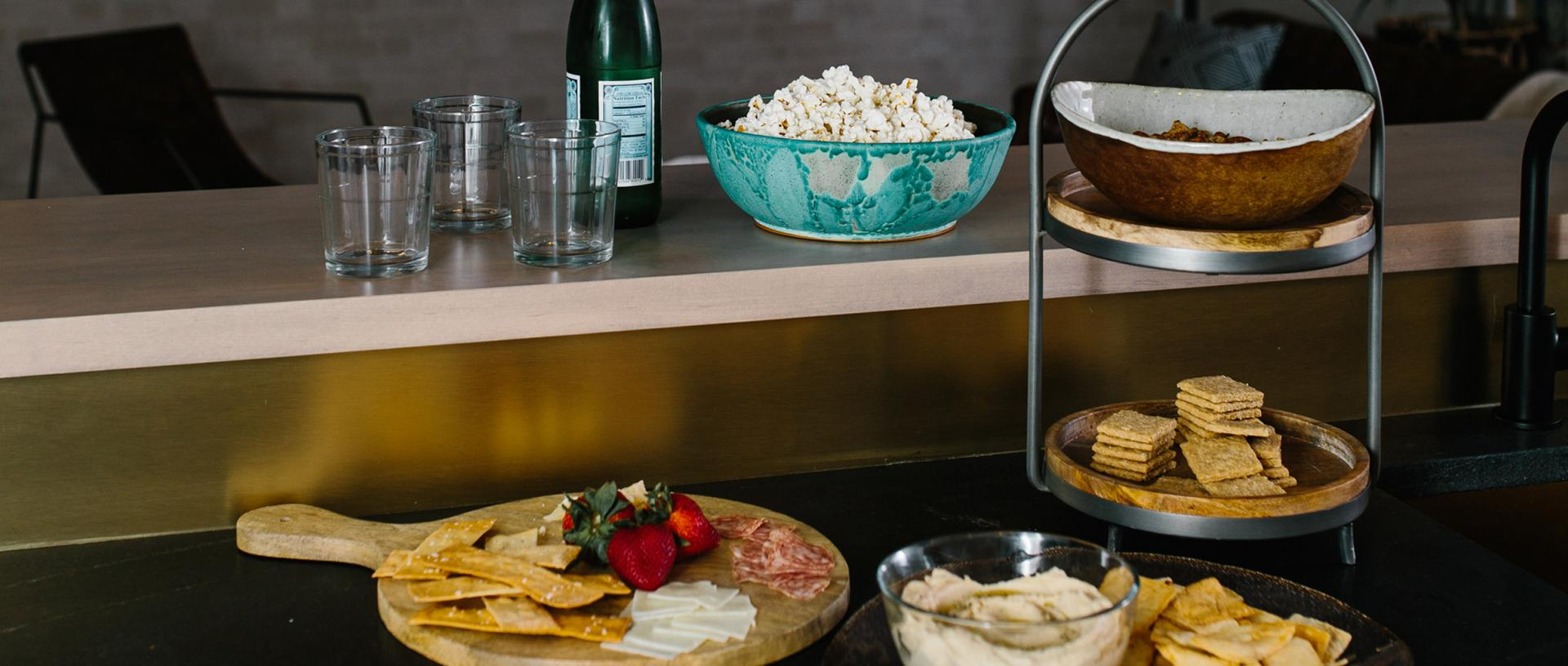 Snacks for TV party on bar